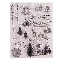 ncdoi冬の動物シリコンクリアシールスタンプDIYスクラップブッキングエンボスフォトアルバム