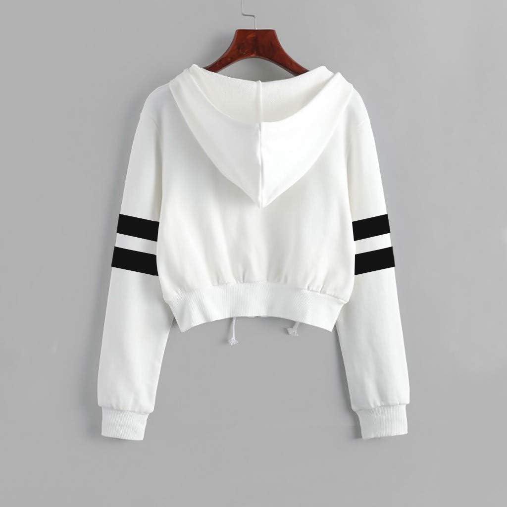 ORT Hoodies for Women Zip Up, Women's Cute Sweatshirts Striped Printed Long Sleeve Hoodie Pullover Tops