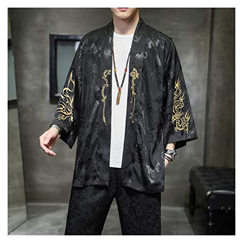 VIAIA Antiguo Bordado Hanfu Retro Kimono Cardigan Estilo Chino Outwear Hombres Ropa Flojo Satn Abrigo Suelto Cosplay Disfraces 5XL (Color : Negro, Size : 3XL)