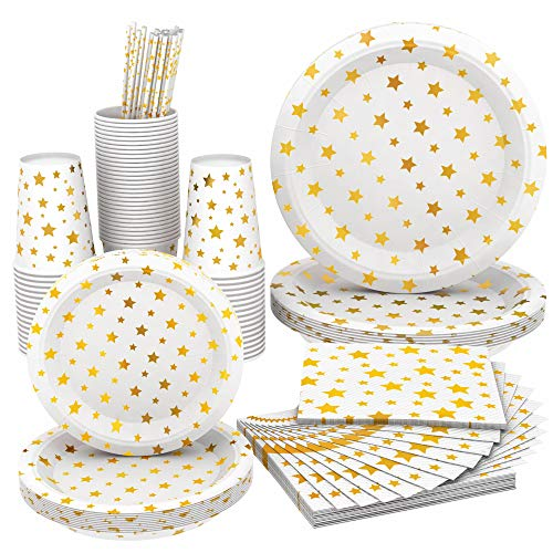 Full Fancy Disposable and Biodegradable Party Set,Paper Plates Two Sizes, Paper Cups, Paper Napkins and Paper Straws - White Color with Gold Stars [for Parties, Dinner or Decorations] - Wise Buy (36)