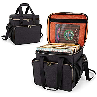 Trunab Vinyl Record Carrying Bag Vinyl Albums Storage Case, with Dividers Holds up to 60 LP Records, Vinyl Record Holder for Travel, Collection