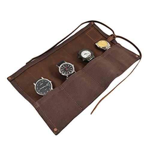 Hide amp Drink Waxed Canvas Travel Watch Roll Organizer Holds Up To 4 Watches Easy Carry On Watchlover Storage Travel amp Commuter Essentials Handmade Includes 101 Year Warranty :: Honey Bourbon