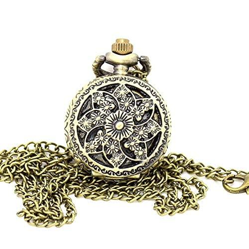 Reloj de Bolsillo Relojes de Bolsillo Vintage Reloj de Bronce con Forma de Estrella Reloj de Bolsillo de aleación Hueca con Flores Hombre Mujer Retro Punk