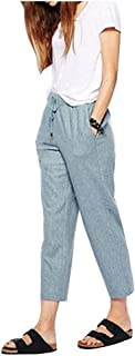 Durcoo Womens Shorts High Waist Drawstring Elastic Ankle Length Pants or Shorts