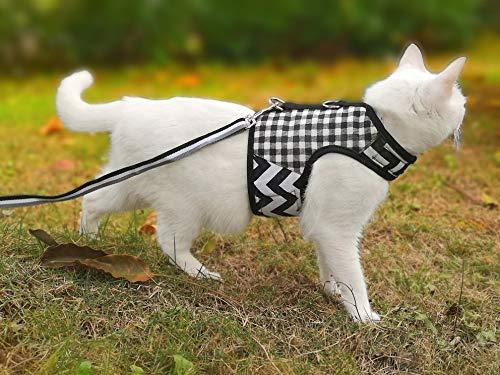 Yizhi Miaow Ferret/Kitten Harness with Leash X-Small, Adjustable Ferret/Kitten Walking Jackets Black Plaid
