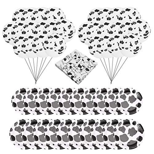 Lurrose 1 Set Kuh-Partyzubehör Einweggeschirr Kuhmuster Teller Ballons Serviette