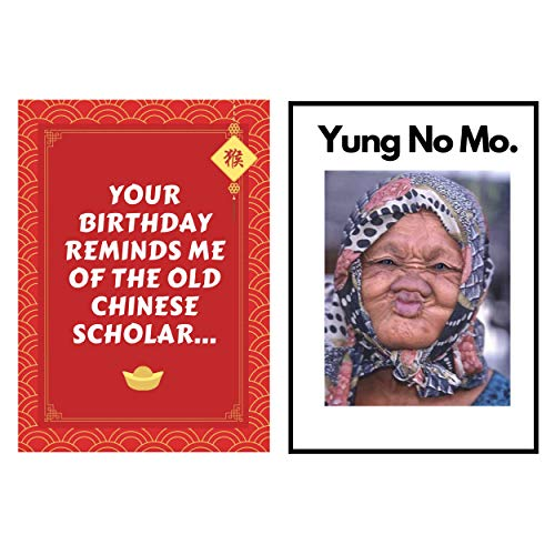 Funny Old woman Joke Happy Birthday Greeting Card – Great Happy Bday Gift for Mom, Sister, Wife, Daughter, Girlfriend | 30th 40th 50th 60th 70th - Comes w/ envelope and seal - YUNG NO MO