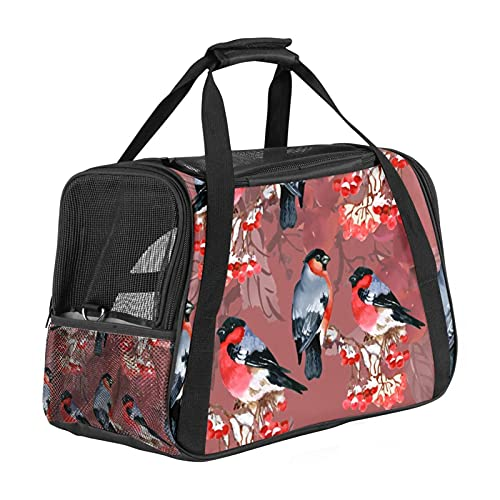 Medium Pet Travel Carrier For Small Dog, Cat, Puppy, Kitten, Airline Approved Carrier Transport Bag With Shoulder Strap Bullfinch Birds Red Pattern