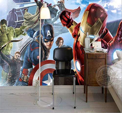 Custom 3D Captain America Avengers Boys Bedroom Fotobehang Marvel Comics Kids Room Interior Design Room Decoratie Largeur 250cm - Hauteur175cm Een