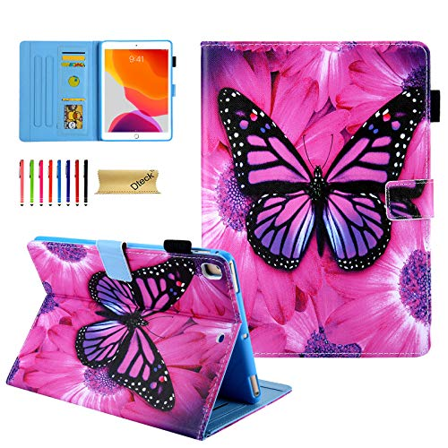 Dteck New iPad 7th/8th Generation Case 10.2 Inch 2019/2020, Premium PU Leather Smart Folio Stand Full Protective Cover with Auto Wake/Sleep and Multiple Viewing Angles - Pink Butterfly