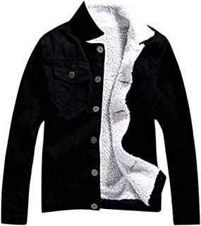 JESPER Women Autumn Winter Fleece Lining Denim Upset Jacket Vintage Long Sleeve Loose Jeans Coat