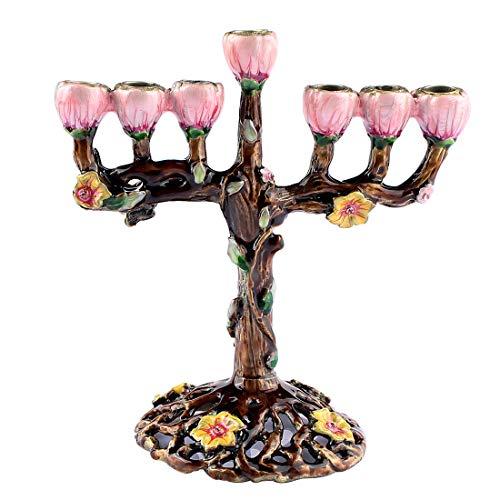 Hophen 7 Branch Hanukkah Menorah Candle Candlestick Holder Tree of Flowers Hand Paited Home Decoration Party Festival Candleholder (Purple)