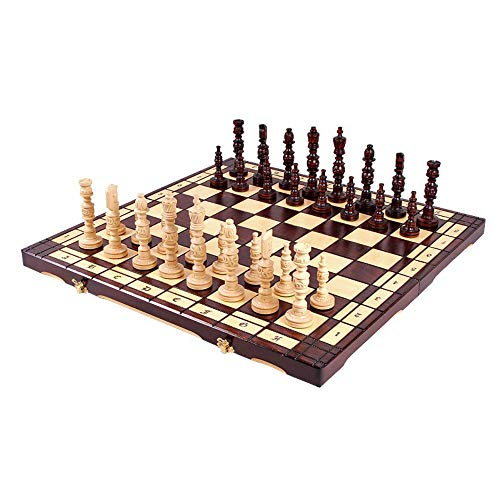 Amazinggirl Schachspiel Schach Schachbrett Holz 58 cm - Chess Board Set klappbar mit Schachfiguren groß für Kinder und Erwachsene