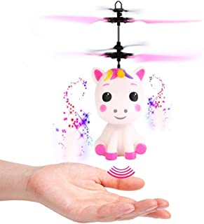 Cogihome Flying Unicorn Toy with LED Light Hand Controlled Unicorn Helicopter Toy for 3 4 5 6 7 8 9 Year Old Girls Boys Kids