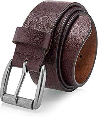 Men's Casual Jean Belt Soft Top Grain Leather Roller Buckle 38MM 1.5 inch Black Brown Tan
