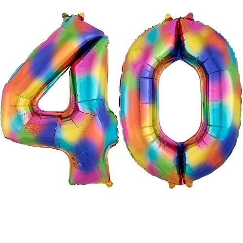 DIWULI, gigantescos globos de número XXL, número 40, globos Crazy Rainbow, número de globos de arco iris, globos de papel de aluminio número no años, globos de papel de aluminio para el 40º cumpleaños