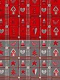 Fabrics-City GRAU 2M Weihnachten Bedruckt Patchwork-Look