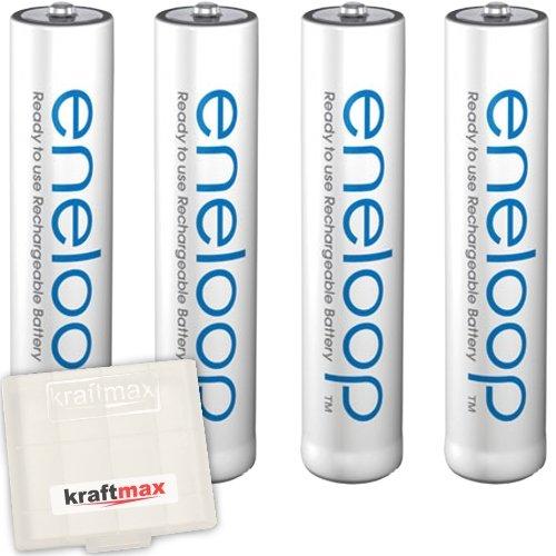 4er Pack Panasonic Eneloop AAA/Micro Akkus - Neueste Generation - Hochleistungs Akku Batterien in Kraftmax Akkubox V5