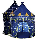 LimitlessFunN Kids Play Tent with Star Lights & Carrying Case [ Pop Up Portable Glow in The Dark Stars Blue ] Children Castle Playhouse for Girls & Boys, Indoor & Outdoor Use