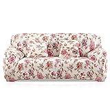 Fashion·LIFE 3 Plazas Funda de Sofá Elástico Cubierta Floral Print Funda Protectora de Poliéster Suave sofá,Rosa Claro