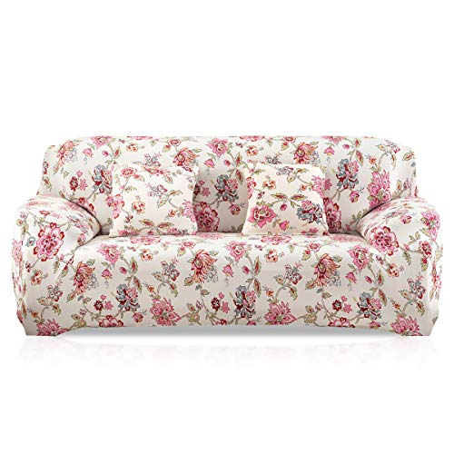 Fashion·LIFE Sofabezüge 3 Sitzer Elastischer Sofaüberwurf Blumen-Muster Schonbezug Polyester Multifunktio Couchabdeckung Wohnkultur für Ganze Saison,Hell-Pink