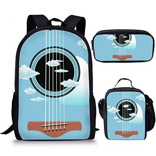 Schulranzen Set für Jungen Mädchen Kinder Rucksack Rucksack Büchertasche Leicht Schulranzen Set mit Lunchtasche Federmäppchen 3 in 1 Gitarre Hellblau