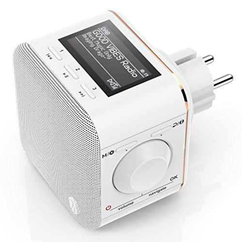 Hama Steckdosenradio DAB+/DAB Digitalradio klein (Plug in Radio mit DAB/DAB Plus/FM/Bluetooth/AUX, Radio-Wecker, beleuchtetes Display, geeignet für die Steckdose) Steckdosen-Radio weiß