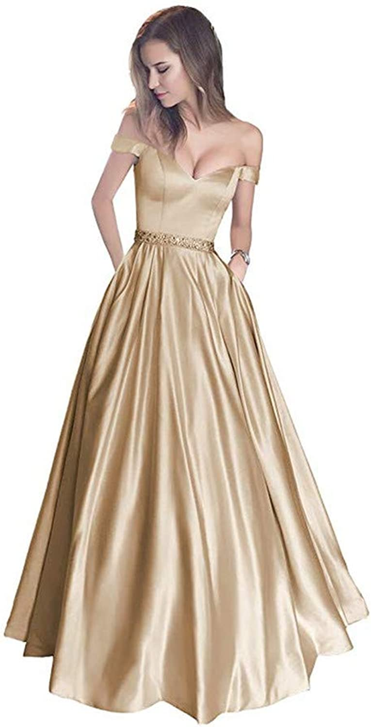 Ai Maria Women's Long Pocket with Dew Shoulder Pearlescent Satin Formal Evening Dress