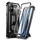 Dexnor Compatible avec iPhone 12 Coque iPhone 12 Pro 5G 6,1 Pouces, 360 Degrés Coque de Protection Armure Antichoc Robuste avec Protecteur d'Ecran Intégré et Béquille - Noir