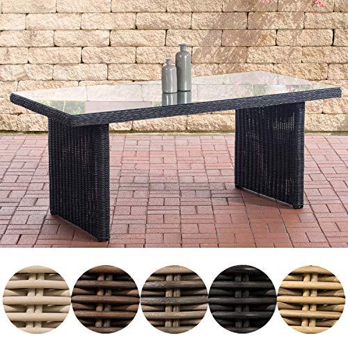 CLP Polyrattan-Tisch Fontana mit Einer Tischplatte aus Glas I Wetterbeständiger pflegeleichter Tisch Schwarz