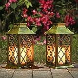 Solar Exterior Lámpara con Vela,Luz LED Solar faroles jardin exteri,Lámpara Solar Jardín Luz de Linterna de Decoración Luces Decorativas para Jardin[Clase de eficiencia energética A]
