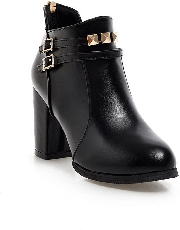 AandN Womens Boots Closed-Toe Zip High-Heel Warm Lining Studded Soft Ground Bootie Dress Hard-Ground Urethane Boots DKU01806