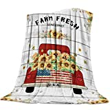 Farm Fresh Theme Flannel Fleece Throw Blanket 50 x 60 Inches, Red Truck Load of Sunflowers on Retro Wood Grain Backdrop, Cozy Blankets for Bedroom Living Rooms Sofa Couch - Soft, Lightweight, Warm