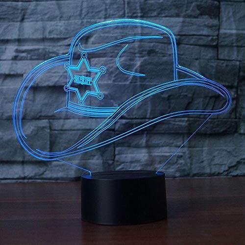 WangZJ Led Nachtlicht / 3d Visuelle Illusion Lampe / 7 Farbwechsel Nachtlichter/Usb Lampara Tischlampe/kinder Geschenk /Cowboy Hut