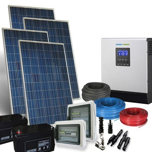 PuntoEnergia Italia - Kit Casa Solare PLUS 1Kw 24V Impianto Fotovoltaico Inverter 2400W Batterie AGM - KCS-1000PL-24-2400-B120-A