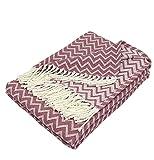 Moon Luxury Decke aus Baumwolle ca. 150x200 Kuscheldecke Zick-Zack Muster Tagesdecke mit Fransen leicht und kuschelig – weiß / Altrosa