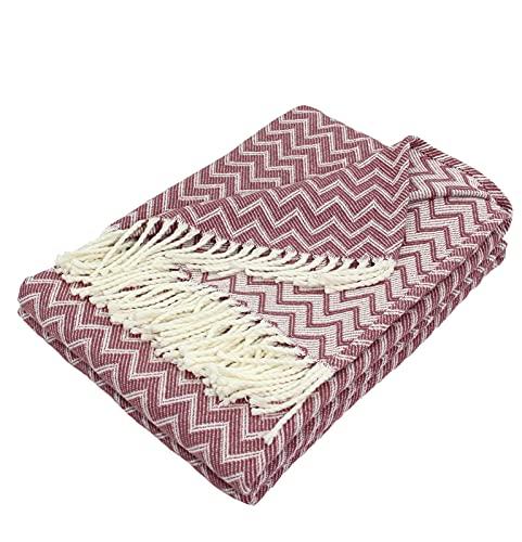 Moon Luxury - Manta de algodón (150 x 200 cm), diseño de zigzag, color blanco y rosa