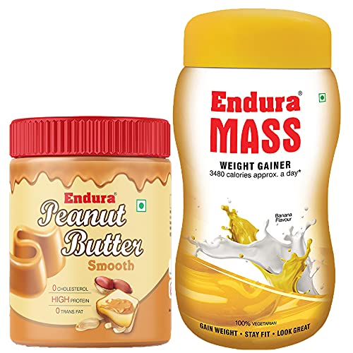 Endura Mass Weight Gainer Banana Flavour with 100% All Natural Peanut Butter Smooth (500g+400g)