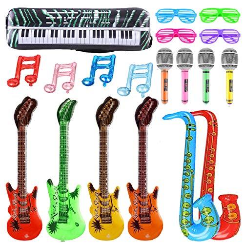 U&X Gonfiabili Strumenti Musicali Accessori Chitarra Sassofono Microfono Occhiali Palloncini per la Decorazione del Partito Prop (19 Pezzi)