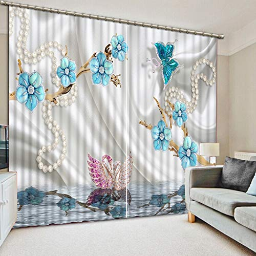 KUKUALE Multiple Size 2 Tablets Blue Sky and White Clouds 3D Curtains Bedroom Living Room Kitchen Home 3D Stereoscopic Curtains Decorative Window1