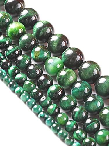 Piedra natural verde ojo de tigre ágata cuentas sueltas redondas 15 pulgadas Strand 6/8/10 mm para hacer joyas DIY pulsera collar verde 4mm aprox 93beads