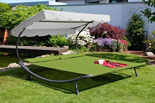 Leco Doppel Gartenliege Sonnenliege Relaxliege Doppelliege Sonnendach grün