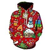 LiDaiJin Navidad 3D Hombres y Mujeres con Capucha suéter con Capucha Tendencia...