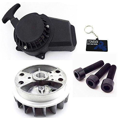 STONEDER Leichtgewichtiger Seilzugstarter Schwungrad für 47cc 49cc Minimoto Pocket Bike Mini Dirt Bike Crosser ATV