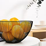 Elven Panier Corbeille à Fruit Design - Corbeille à Fruits Original métal - Noir/Marron
