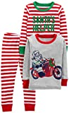 Simple Joys by Carter's Boys' Toddler 3-Piece Snug-Fit Cotton Christmas Pajama Set, Red/White Stripe/Motorcycle, 3T