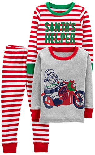 Simple Joys by Carter's Baby, Little Kid, and Toddler 3-Piece Snug-Fit Cotton Christmas Pajama Set, Red/White Stripe/Motorcycle, 2T
