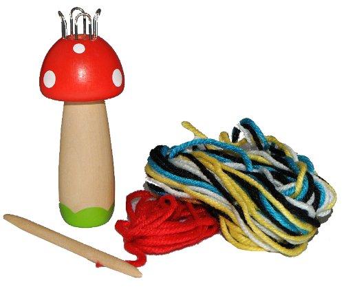 Hape International Strickliesel Pilz aus Holz mit Wolle - Strickursel - für Kinder Strickpilz Strickliesl Stricken Lernen Handarbeit