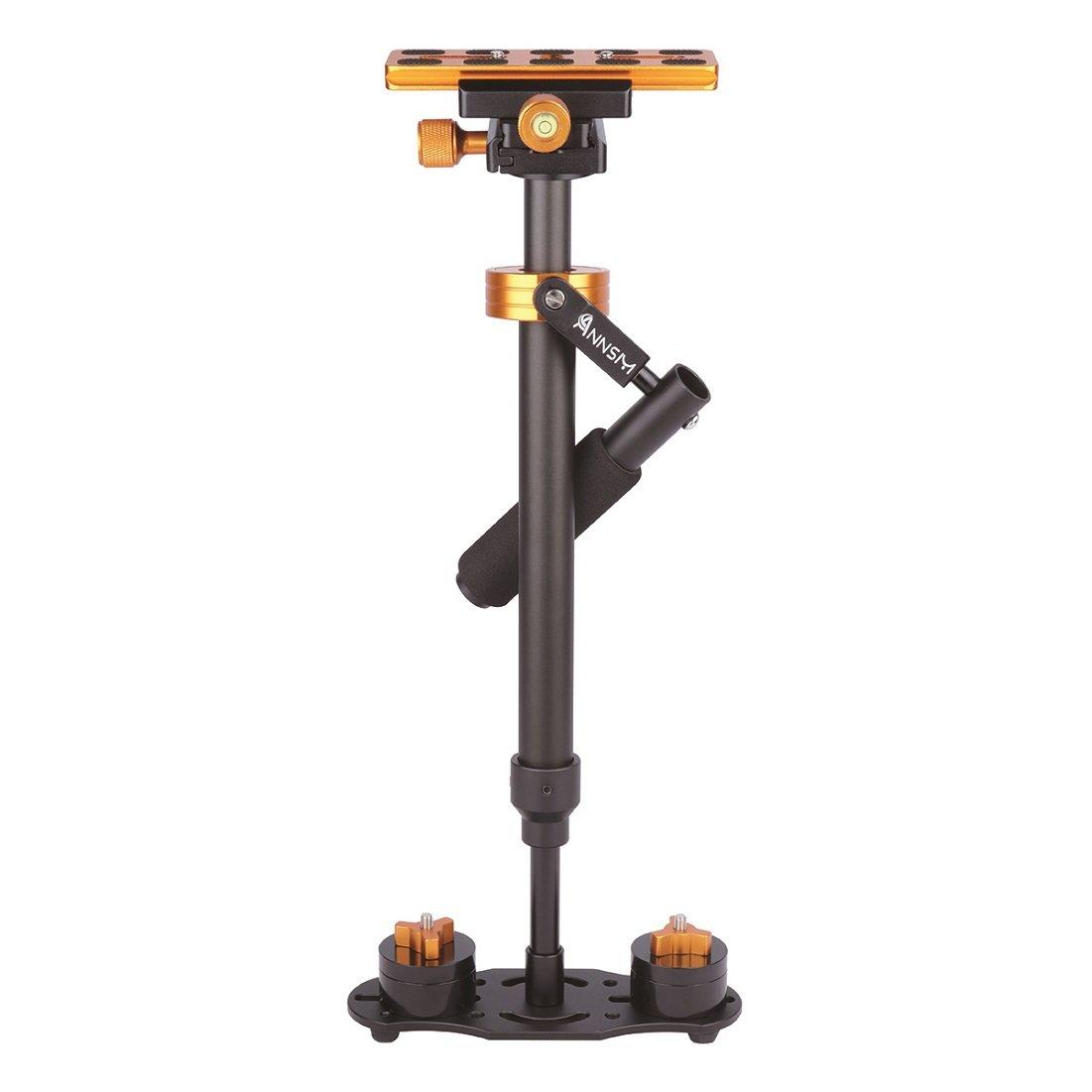 Annsm Pro 24 英寸/60 厘米摄像机手持稳定器适用于数码单反相机/摄像机/家庭 DV/智能手机/iPhone,高度/重量可调,橙色