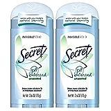 【2個セット】デオドラント シークレット 無香料Secret Invisible Solid Antiperspirant Deodorant, Unscented - 2.6 oz - 2 pk [並行輸入品]